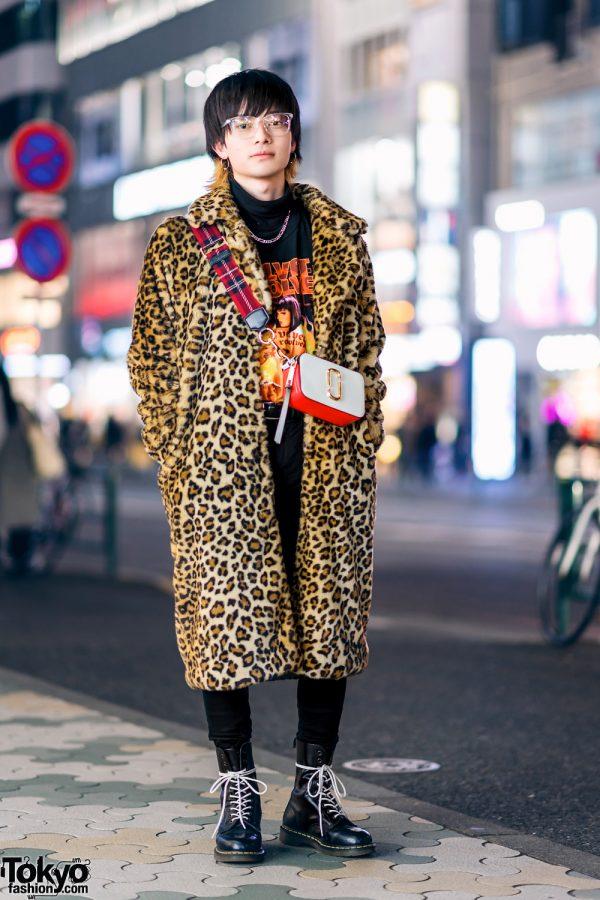 Harajuku Street Style w/ Leopard Print Faux Fur Coat, Vintage Shirt, Marc Jacobs Crossbody Bag, Vivienne Westwood Armor Ring & Dr. Martens Boots