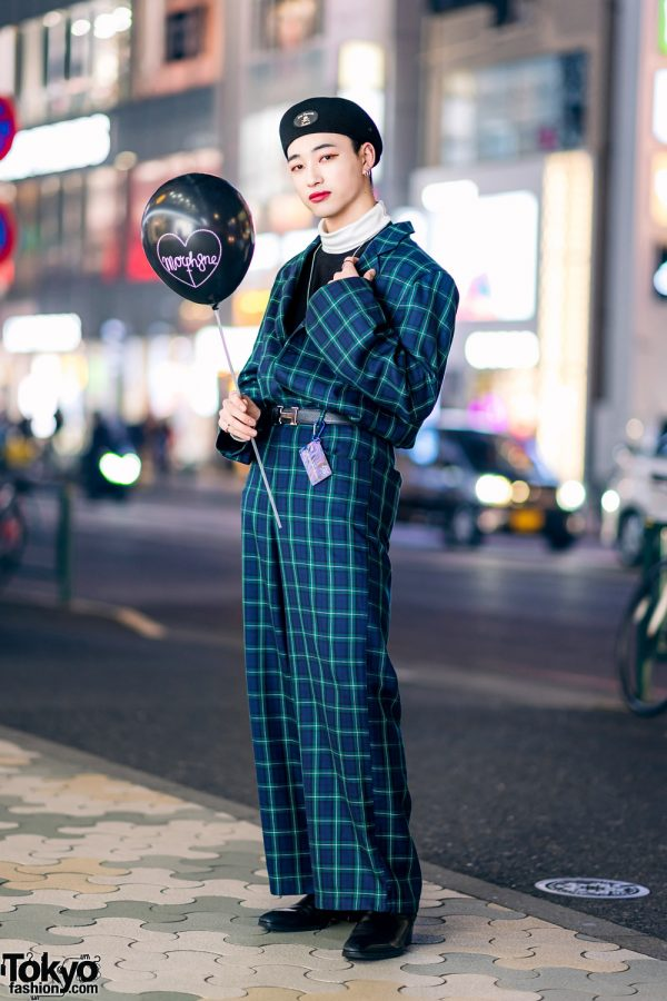 Japanese Model in Harajuku w/ More Than Dope Plaid Suit, Never Mind the XU, Gucci Pendant Necklace, Hermes & Morph8ne Balloon
