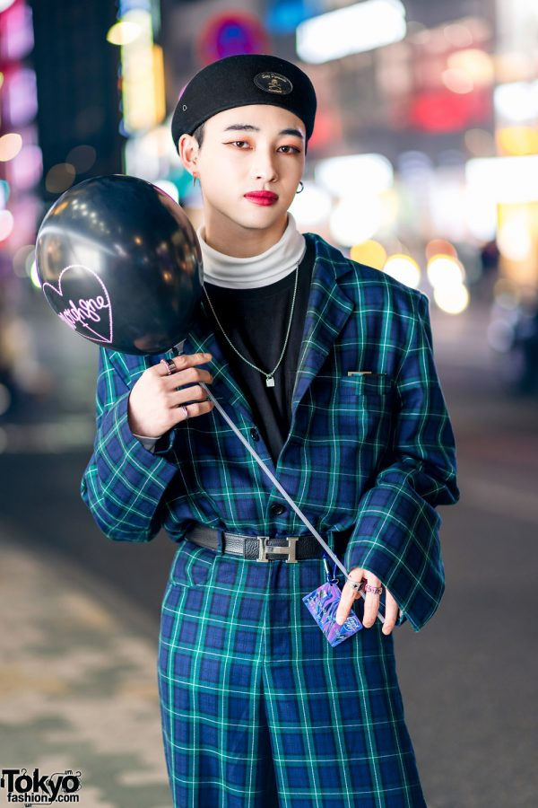 Japanese Model in Harajuku w/ More Than Dope Plaid Suit, Never Mind the XU, Gucci Pendant Necklace, Hermes & Morph8ne Balloon 3