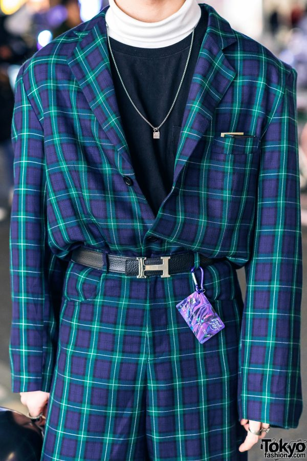 Japanese Model in Harajuku w/ More Than Dope Plaid Suit, Never Mind the XU, Gucci Pendant Necklace, Hermes & Morph8ne Balloon 5