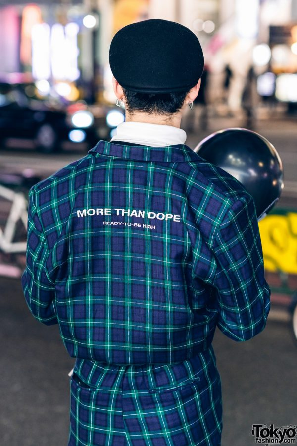 Japanese Model in Harajuku w/ More Than Dope Plaid Suit, Never Mind the XU, Gucci Pendant Necklace, Hermes & Morph8ne Balloon 4