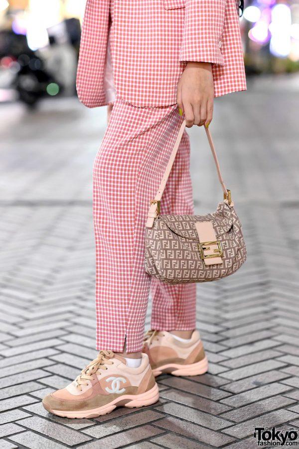 Hijabi Tokyo Street Style W Pink Zara Suit Fendi Bag