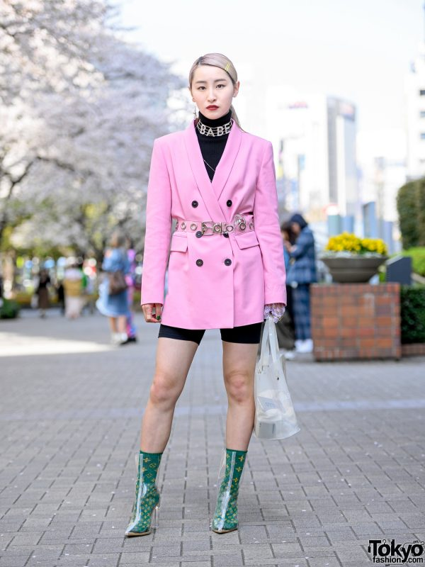 Bunka Fashion College Student in Pink Blazer & Biker Shorts w/ Ambush, Pinnap, Kobinai, NanaNana & Yello Clear Boots