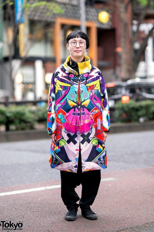 Japanese Artist Hiroyuki-Mitsume Takahashi on the Street in Harajuku w/ Mugen Art Coat 2