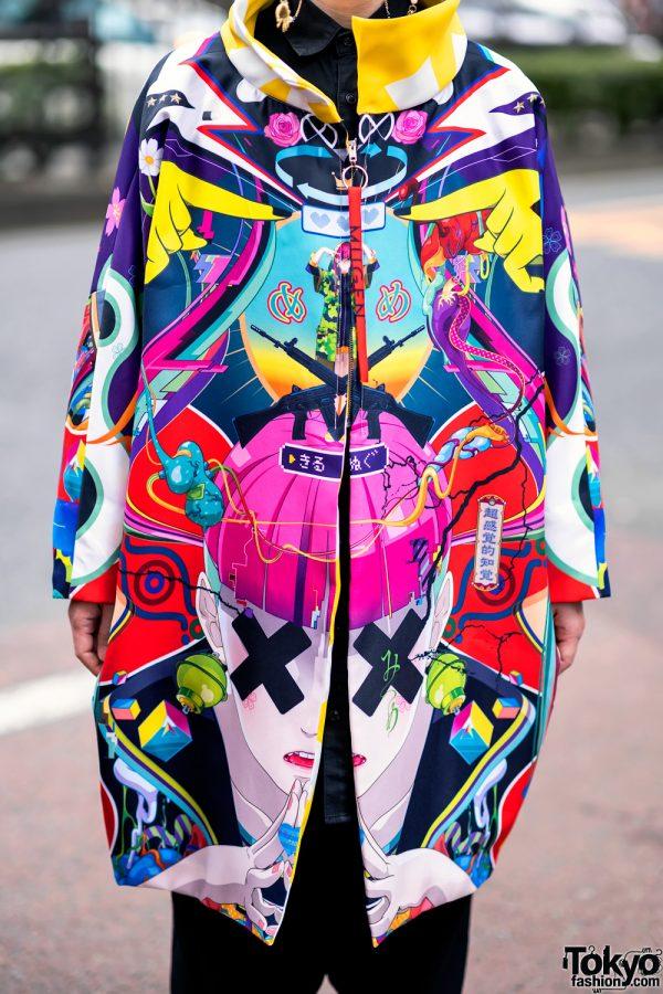 Japanese Artist Hiroyuki-Mitsume Takahashi on the Street in Harajuku w/ Mugen Art Coat 4