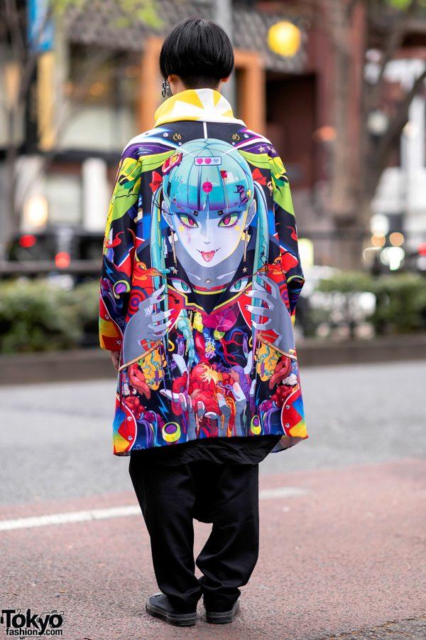 Japanese Artist Hiroyuki-Mitsume Takahashi on the Street in Harajuku w/ Mugen Art Coat 5