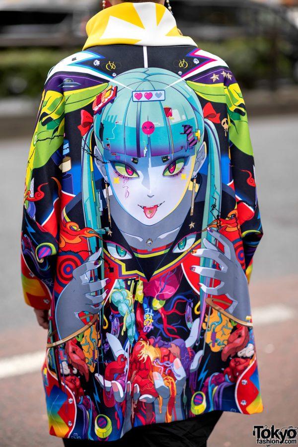 Japanese Artist Hiroyuki-Mitsume Takahashi on the Street in Harajuku w/ Mugen Art Coat 6