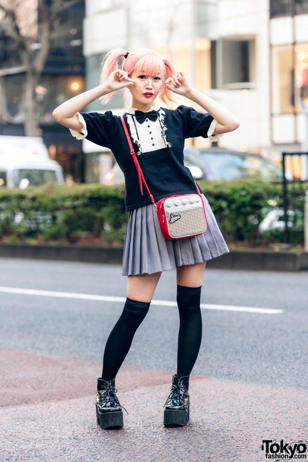 Japanese Pop Icon in Harajuku w/ Pink Twin Tails, Sinz Guitar Amp Bag, Vivienne Westwood & Platform Booties 3