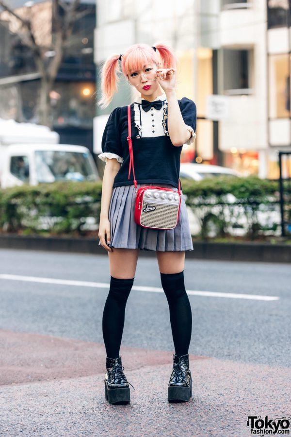 Japanese Pop Icon in Harajuku w/ Pink Twin Tails, Sinz Guitar Amp Bag, Vivienne Westwood & Platform Booties 4