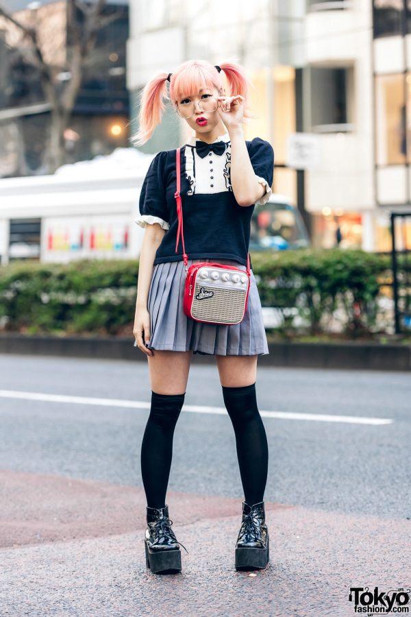 Japanese Pop Icon in Harajuku w/ Pink Twin Tails, Sinz Guitar Amp Bag, Vivienne Westwood & Platform Booties 5