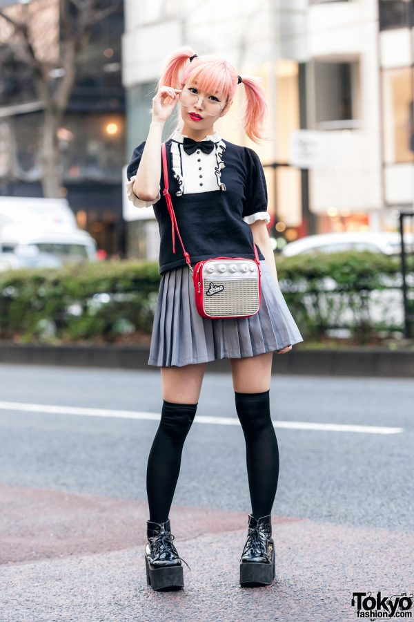 Japanese Pop Icon in Harajuku w/ Pink Twin Tails, Sinz Guitar Amp Bag, Vivienne Westwood & Platform Booties