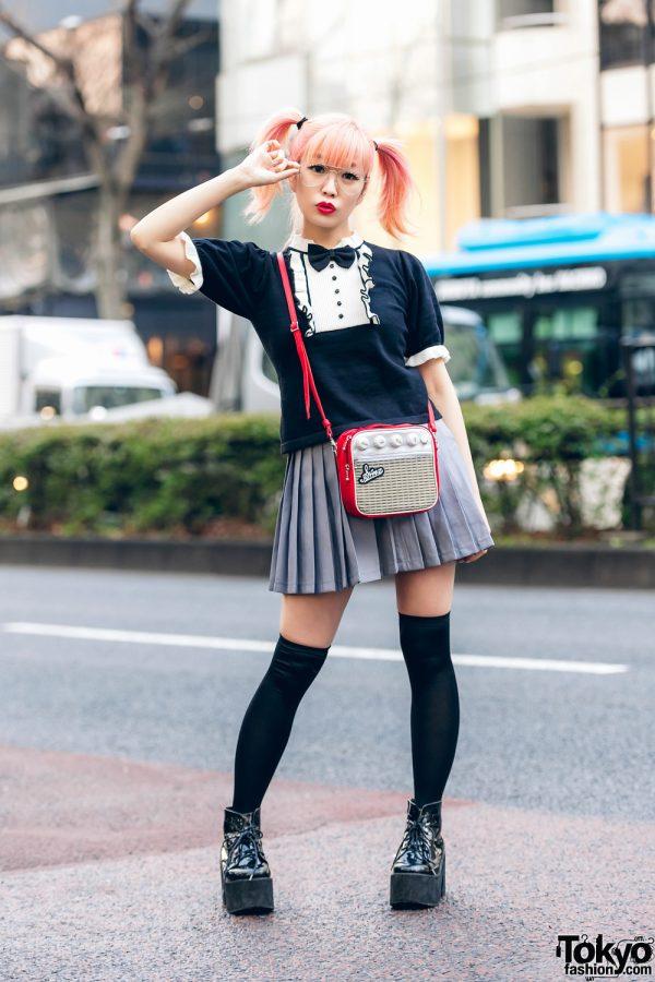Japanese Pop Icon in Harajuku w/ Pink Twin Tails, Sinz Guitar Amp Bag, Vivienne Westwood & Platform Booties 6