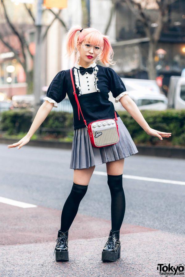 Japanese Pop Icon in Harajuku w/ Pink Twin Tails, Sinz Guitar Amp Bag, Vivienne Westwood & Platform Booties 7