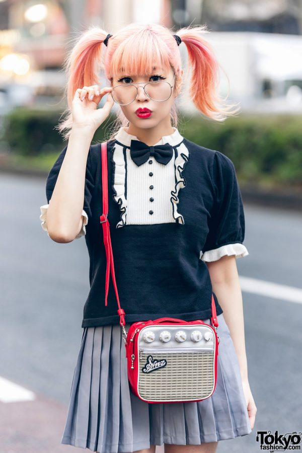 Japanese Pop Icon in Harajuku w/ Pink Twin Tails, Sinz Guitar Amp Bag, Vivienne Westwood & Platform Booties 8