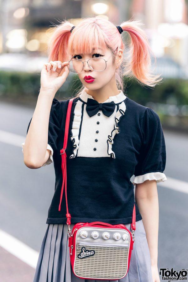 Japanese Pop Icon in Harajuku w/ Pink Twin Tails, Sinz Guitar Amp Bag, Vivienne Westwood & Platform Booties 10