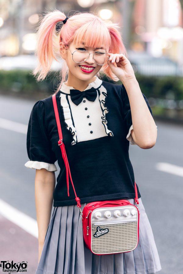 Japanese Pop Icon in Harajuku w/ Pink Twin Tails, Sinz Guitar Amp Bag, Vivienne Westwood & Platform Booties 9