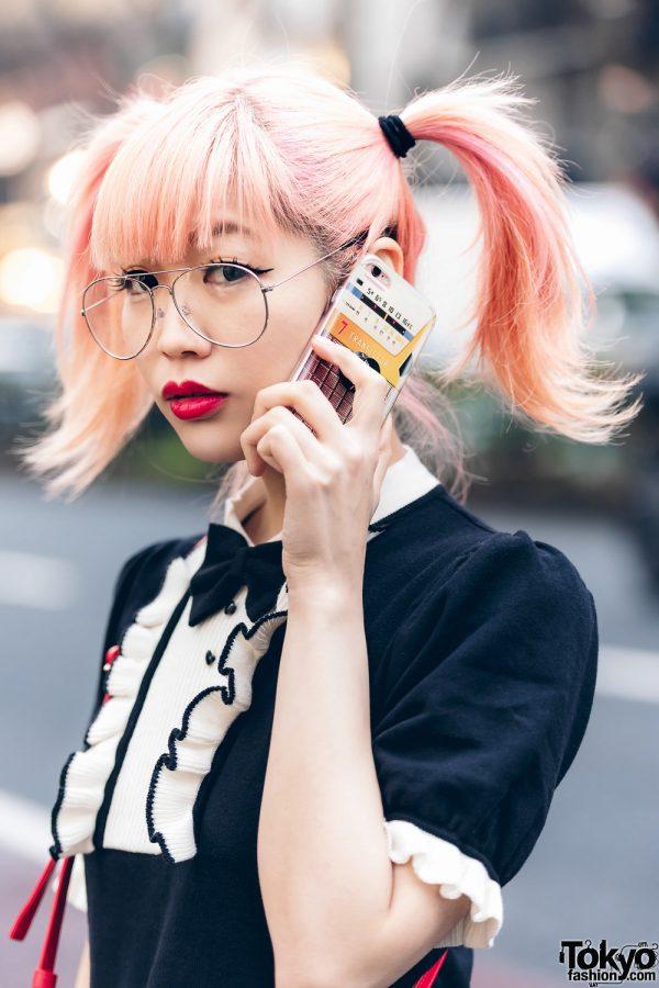 Japanese Pop Icon in Harajuku w/ Pink Twin Tails, Sinz Guitar Amp Bag, Vivienne Westwood & Platform Booties 11