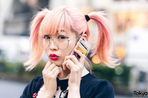 Japanese Pop Icon in Harajuku w/ Pink Twin Tails, Sinz Guitar Amp Bag, Vivienne Westwood & Platform Booties 12