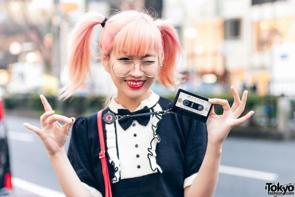 Japanese Pop Icon in Harajuku w/ Pink Twin Tails, Sinz Guitar Amp Bag, Vivienne Westwood & Platform Booties 13