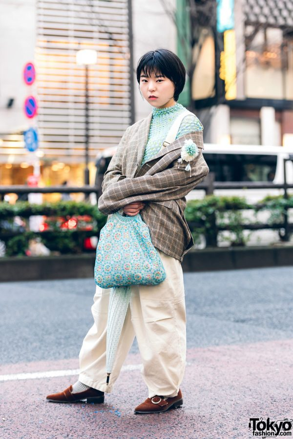Vintage Mint Street Fashion in Harajuku w/ Houndstooth Blazer, Popcorn Pleat Top, W Closet Jumper, Oriental Traffic Suede Loafers, Polka Dot Umbrella & Chinatown Bag