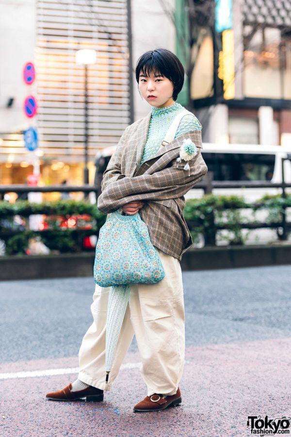 Vintage Mint Street Fashion in Harajuku w/ Houndstooth Blazer, Popcorn Pleat Top, W Closet Jumper, Oriental Traffic Suede Loafers, Polka Dot Umbrella & Chinatown Bag