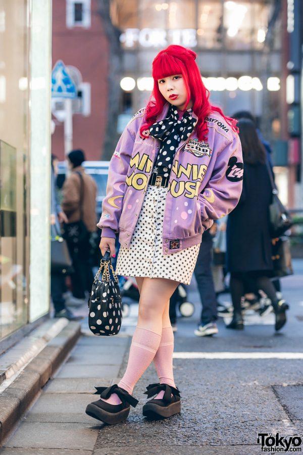 Polka Dot Tokyo Street Fashion w/ Red Braided Hair, Daytona 500 Minnie Mouse Jacket, Kinji Shimokitazawa, Kiki2 Skirt, Tokyo Bopper Bow Shoes & Round Bag