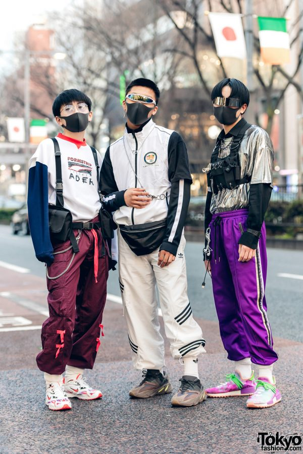 Harajuku Guys w/ Shield Visor Sunglasses, Face Masks, Ader Error x Puma, Nike x Supreme, A-Wende, Anti Social Social Club, H&M, Adidas Yeezy Boost 700, Sick Boy & Adidas x Pharrel Williams Hu Holi NMD Sneakers