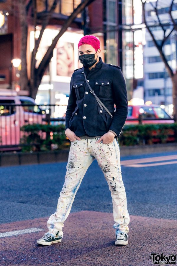 Gab3 in Harajuku w/ Pink Hair, Face Mask, Military Jacket, Vlone, Beams, Converse & Vivienne Westwood Bag