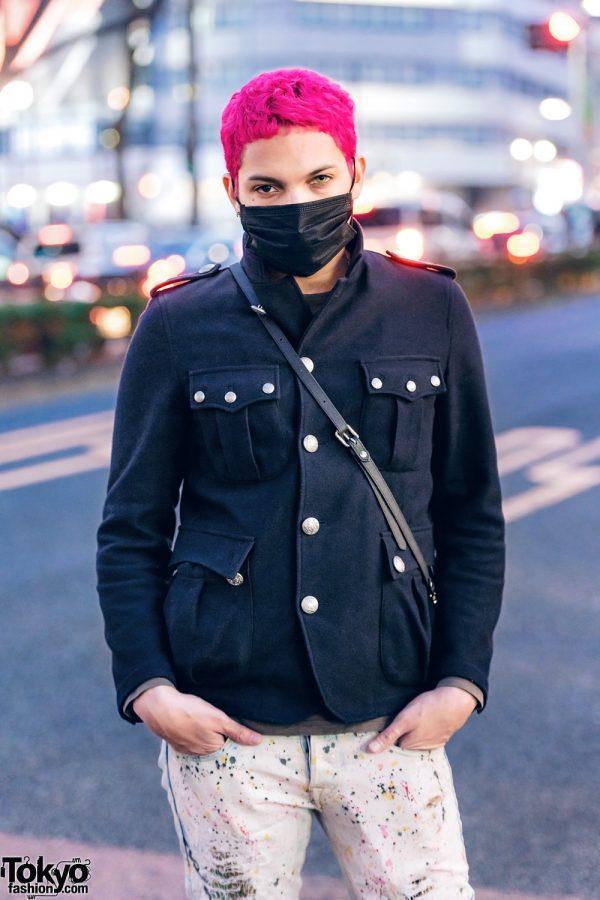 Gab3 in Harajuku w/ Pink Hair, Face Mask, Military Jacket, Vlone, Beams, Converse & Vivienne Westwood Bag 3