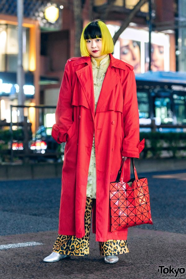 Japanese Street Fashion w/ Yellow Fringed Bob, Trench Coat, Mandarin Collar Dress, Leopard Print Pants, H&M Pointy Boots & Issey Miyake Bao Bao Bag