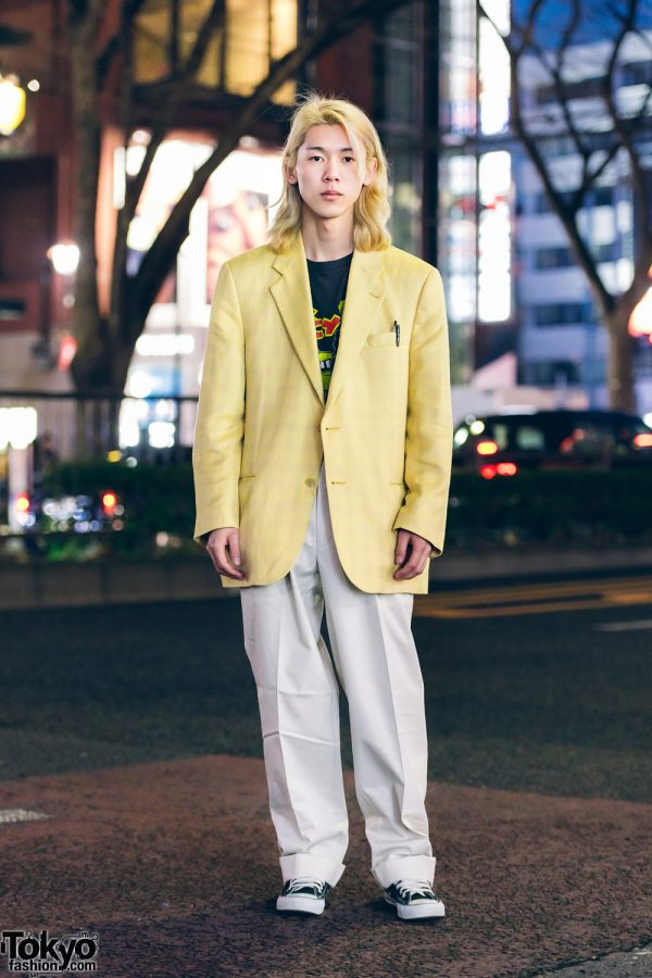 Japanese Hair Stylist in Harajuku Menswear Street Style w/ Blond Hair, Converse Sneakers & Zohreh Yellow Blazer