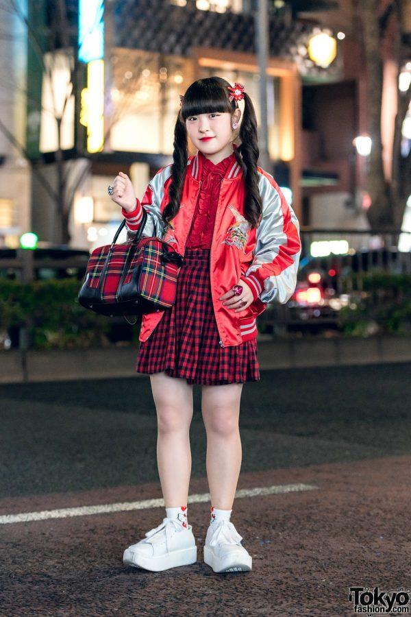 Red Plaid Tokyo Streetwear Style w/ Koenji, New York Joe Exchange, Tokyo Bopper, 6%DOKIDOKI & Kiki2
