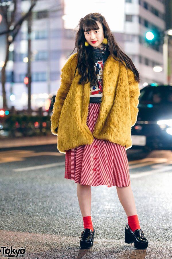 Model & Pop Idol w/ WEGO Fuzzy Coat, Vintage Graphic Print Top & Sevens Striped Skirt in Harajuku