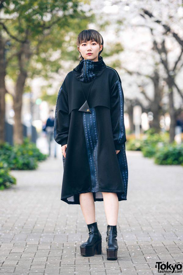 Modern Minimalist Japanese Street Style w/ Kakuremi Cowl Neck Dress, Dr. Martens Triangle Neck Wallet & Emoda Platform Boots