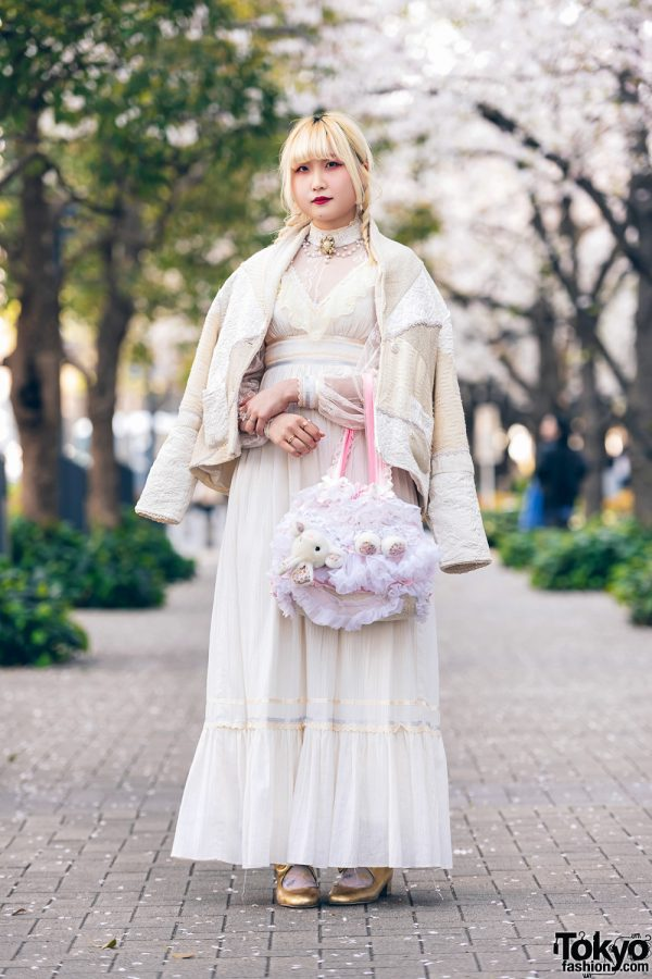 Vintage/Cult Party Kei Style with Twin Braids, Virgin Mary Patchwork Jacket, Gunne Sax Empire Cut Ruffle Dress, Nile Perch Bow Shoes & Gunifuni Rabbit Bag
