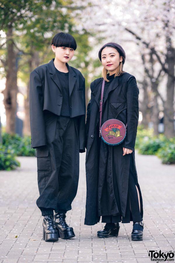 All Black Styles at Bunka Fashion College w/ Limi Feu Long Coat, Style Nanda Cropped Blazer, Sly, This Is Never That, Studious, Kenzo Round Sling & Yosuke Platforms