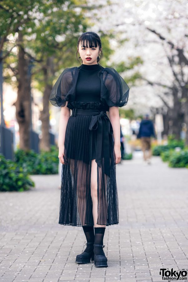 Japanese Model in Chic All Black Streetwear Style w/ Snidel Puff Sleeve Sheer Pleated Dress & Office Kiko Baby Doll Shoes