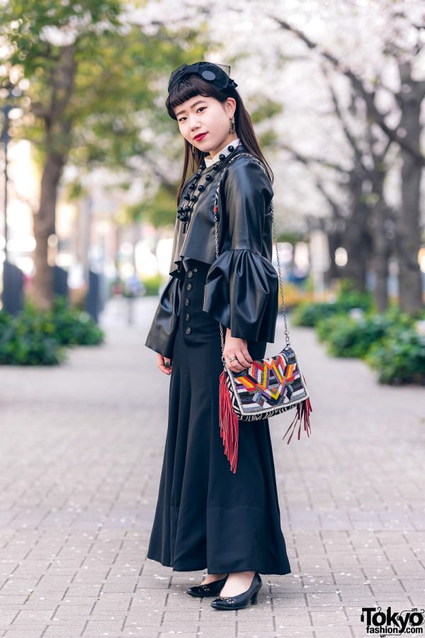 Bow Headband, Cropped Leatherette Top, Flared Skirt, YSL Pointy Flats, Gucci Watch & Hand-Me-Down Flap Bag