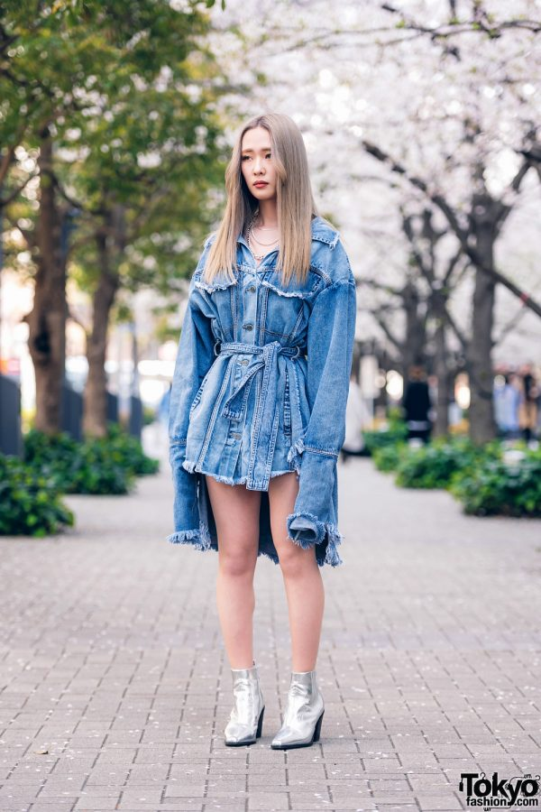 Pony Stone Denim Streetwear Style in Tokyo w/ High Low Belted Jacket, Layered Chain Necklaces & Pointy Silver Boots