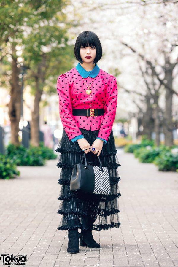 Layered Style w/ Fringed Bob, Layered Coats, Kobinai Sheer Skirt Over Striped Pants, GU Suede Boots, Moschino & FuriFu Checkered Bag