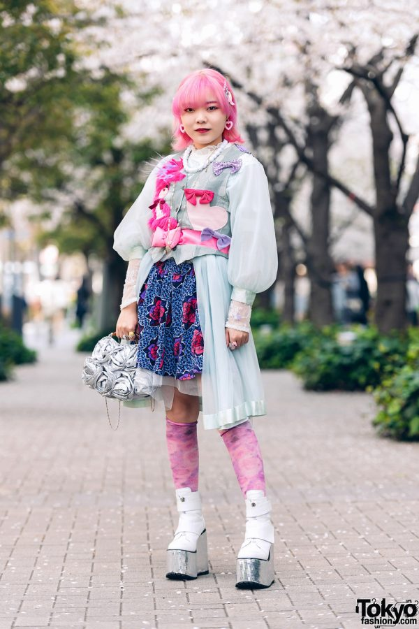 Pink & Blue Street Style in Tokyo w/ Pink Hair, Kiki2 Layered Tops, Floral Skirt, Vintage Accessories, Sequin Flower Handbag  & Metallic Platforms