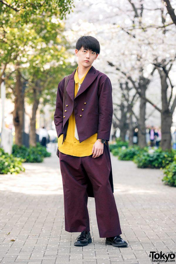 Ha|za|ma Menswear w/ Burgundy Tuxedo Suit, Silk Shirt, Necktie, Leather Lace-Up Shoes & Suede Bag