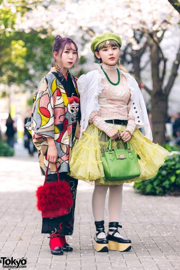 Kimono & Tutu Japanese Street Styles in Tokyo w/ Colorful Hair & Vivienne Westwood Rocking Horse Shoes 3