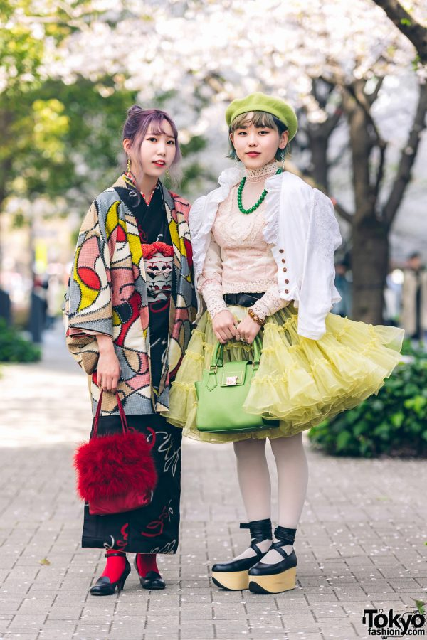 Kimono & Tutu Japanese Street Styles in Tokyo w/ Colorful Hair & Vivienne Westwood Rocking Horse Shoes