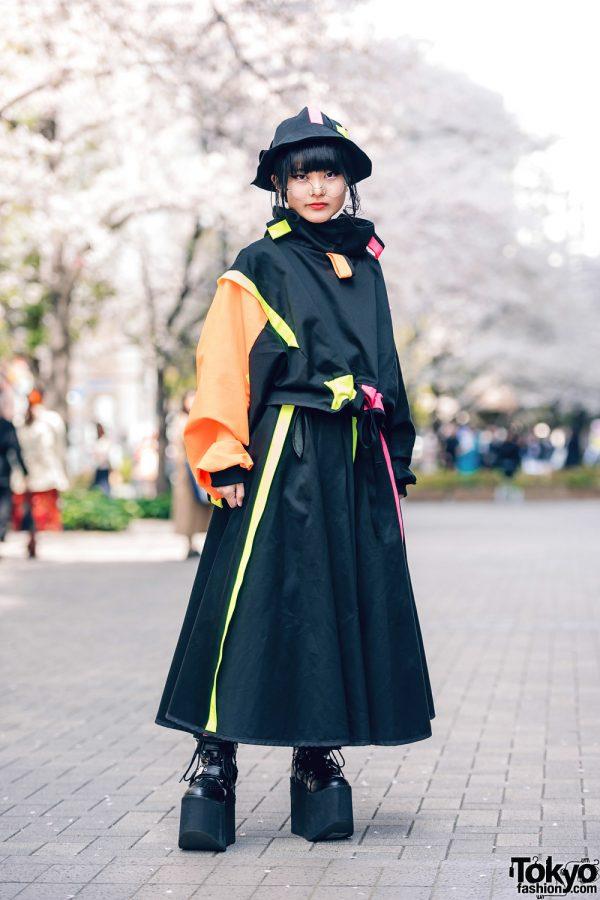 Black & Neon Eclectic Street Style at Bunka w/ Zetsumetsu Kigushu, Bucket Hat & Yosuke Platform Boots