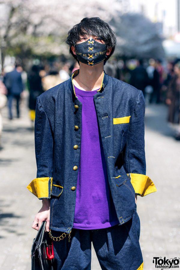Handmade Japanese Streetwear Styles w/ Face Masks, Kanji Embroidery, Mandarin Collar Denim Jackets, Oh Pearl & Chrome Hearts 4