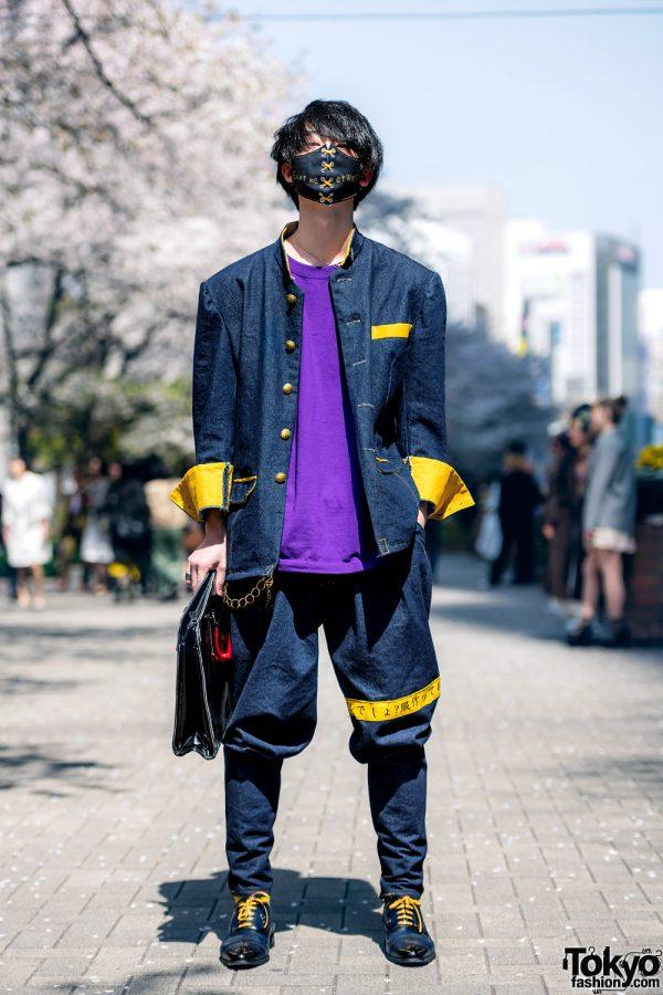 Handmade Japanese Streetwear Styles w/ Face Masks, Kanji Embroidery, Mandarin Collar Denim Jackets, Oh Pearl & Chrome Hearts 5