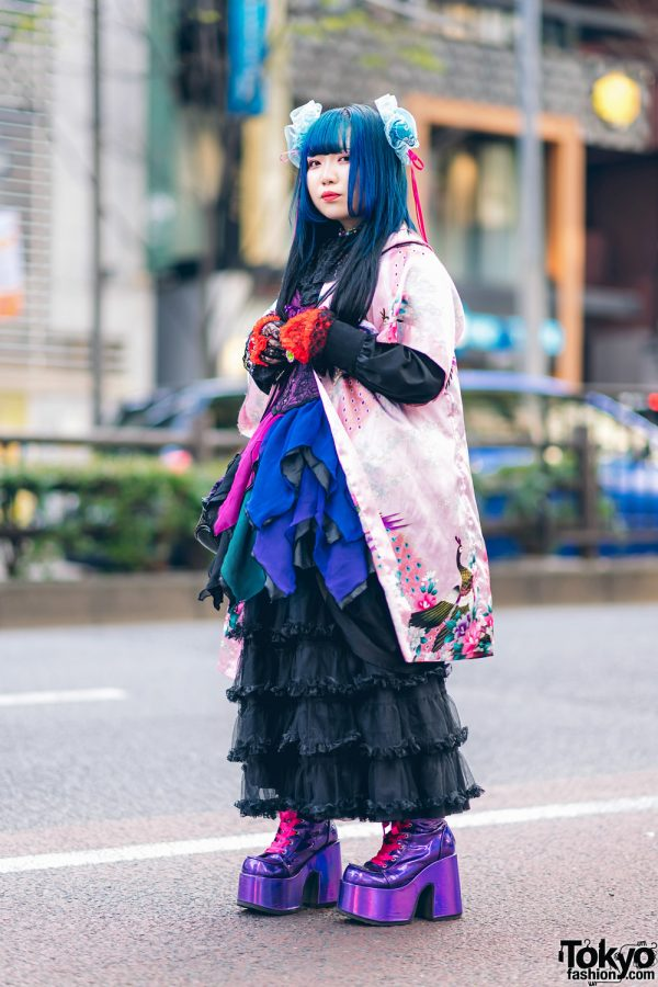 Odango Hairstyle, Vintage Kimono, Miho Matsuda Dress, Spiny Cream, Dolls Kill Platforms & Killstar Bag in Harajuku 2