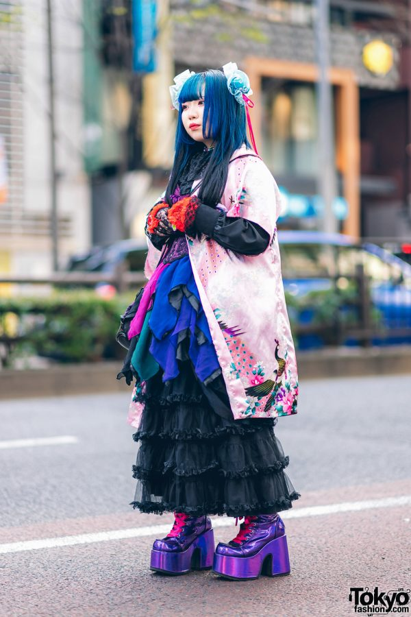 Odango Hairstyle, Vintage Kimono, Miho Matsuda Dress, Spiny Cream, Dolls Kill Platforms & Killstar Bag in Harajuku 3