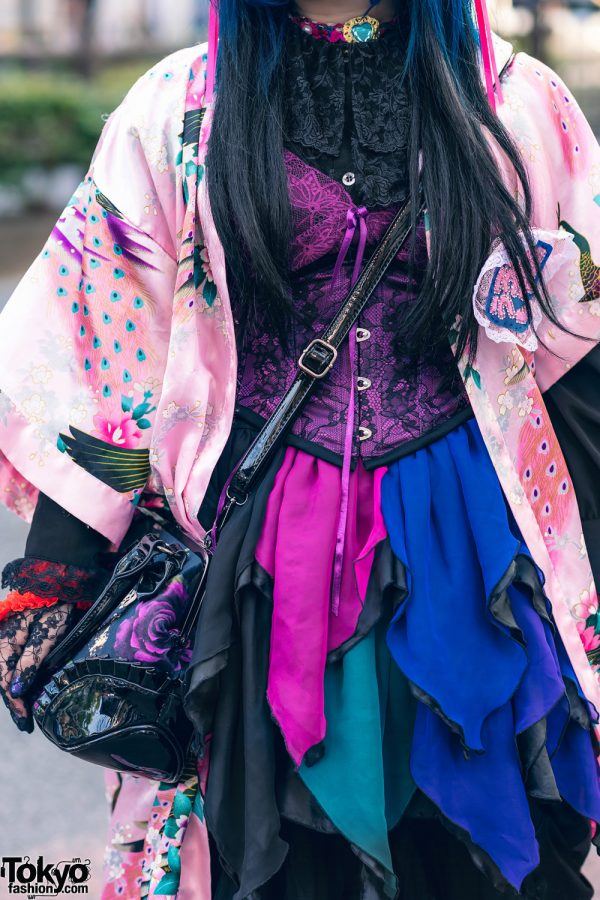 Odango Hairstyle, Vintage Kimono, Miho Matsuda Dress, Spiny Cream, Dolls Kill Platforms & Killstar Bag in Harajuku 6